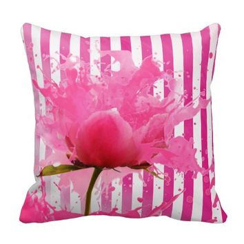 Pink and White Stripe with Flower Splatter Throw Pillow