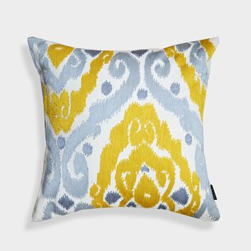 "A1HC Crewel Embroidered Sunny Yellow-Grey Ikat Throw Pillow (20"" X 20"" X 4"")"