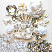 LOVEKITTY -- DIY Silver Rhinestones Crown Bling Cell Phone Case Resin Flatback Deco Kit / Set -- lovekitty