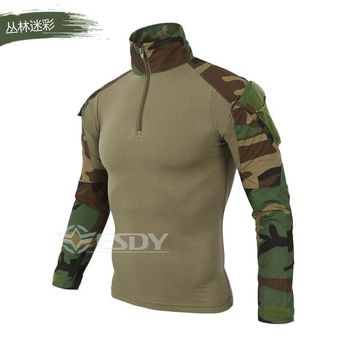 Brand Camouflage Male Military T Shirts Army Combat Tactical T Shirt Man Long Sleeve T-Shirt Hunting T Shirts, C2J