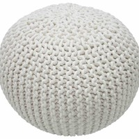 nuLOOM Cable Knit White Pouf