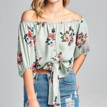 Ladies fashion off the shoulder front tie floral print woven top