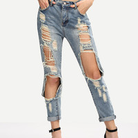 Summer Distressed Boyfriend Ripped Jeans