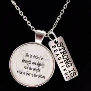 Proverbs 31:25 She Is Clothed In Strength Strong Bible Scripture Necklace