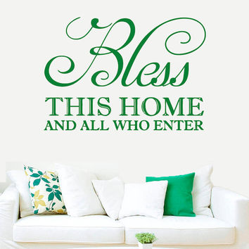 Wall Decal Vinyl Sticker Decals Art Decor Design Sign Quote Letters Bless This Home House Family Rules Love Pray Modern Dorm Fashion(r425)