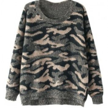 Leopard Stripe Long Sleeves Knitwear