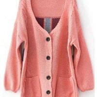 V Neck Pink Sweater with Plaid Back S002255