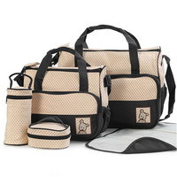 Hot 5pc Baby multifunction Changing Diaper Nappy Mummy Mother Handbag Bags    black