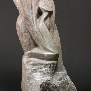 Leaning on you - Stylized couple carved in Alabaster - One of a kind sculpture