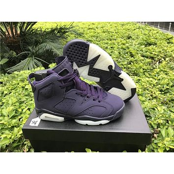 "2017 Air Jordan Retro 6 VI GS ""Purple Dynasty"" Basketball Shoes Classical Retro 6 Men Women High Tops Sports Trainer Sneakers"