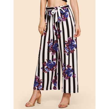 Self Belted Floral & Striped Palazzo Pants