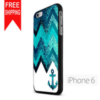 Navy Anchor Chevron Sparkly Lzn iPhone 6 Case