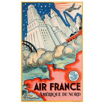 Original Vintage Art Deco Travel Poster by Guy Arnoux - Air France North America