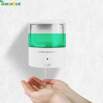 New Battery Powered 600ml Wall-Mount Automatic IR Sensor Soap Dispenser Touch-free Kitchen Soap Lotion Pump for Kitchen Bathroom
