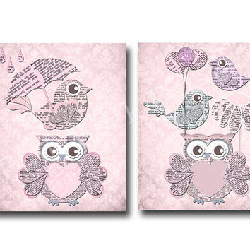 Baby girl nursery wall art, baby shower gift classic nursery kids room decor baby girl room decor, pink bird owl nursery children room decor