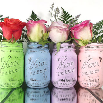 Hand Painted Mason Jars - Set of Four, Pastels Colored, Painted Jars -- Mason Jar Decor, Pink, Purple, Green and Blue Painted Mason Jars