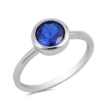 Round Blue Sapphire CZ Solid 925 Sterling Silver Ring