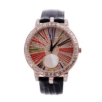 Great Deal Designer's New Arrival Awesome Gift Good Price Trendy Stylish Ladies Leather Diamonds Watch [4919937604]