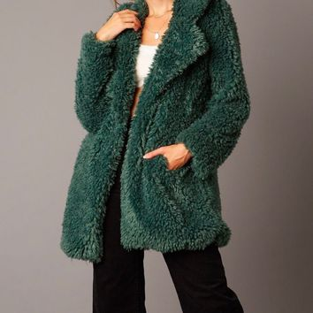 open collar shaggy fur jacket - hunter green
