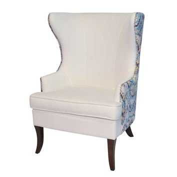 Elliot Wingback Arm Chair Espresso Legs, Shell White/Mazarine Paisley