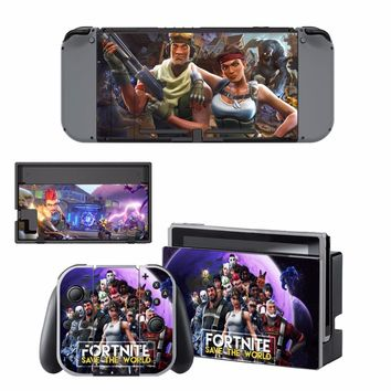 Game Fortnite Skin Sticker Decal For Nintendo Switch Console and Controller For NS Protector Cover Skin Sticker