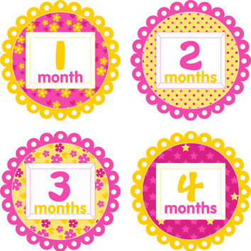 Baby Month Stickers Baby Monthly Stickers Girl Monthly Shirt Stickers Pink Yellow Flowers Polka Dots Shower Gift Photo Prop Baby Milestone