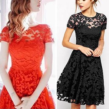 Women Party Dresses Vestidos Sexy Dresses Autumn Winter Dress Sexy Lace Flare Large Size Bodycon Short Mini for women New Year