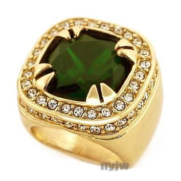 DCCKH7E NEW MENS BIG CHUNKY GOLD PLATED ICED OUT RICH GANG EMERALD GREEN RING R020G