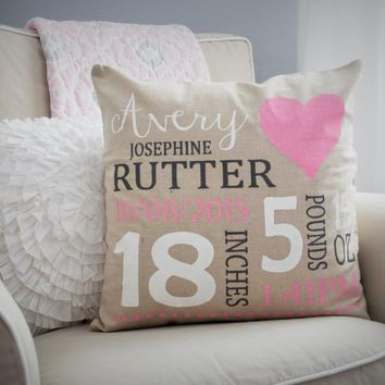 Nursery Heart themed Personalized Pillow Cover - Baby Stats Pillow