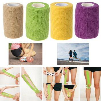 Athletic Tape Sports Stretch Elastic Self-adhesive Roll Bandage Strap Cotton Blend Elastic Tape Wrist Support Sports Safety