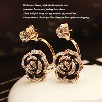Stylish Simple Wild Black Enameled Rose Back Hanging hook Stud Earrings Studded With Rhinestones Grace Lady Jewelry 2013