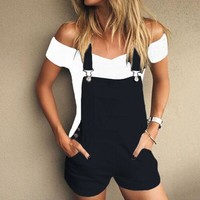 Short Solid Overalls
