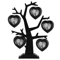 Adeco [PF0302] Decorative Black Wood Table Desk Top Tree with Beveled Hearts Picture Photo Frame, 5 Openings, 3x3""