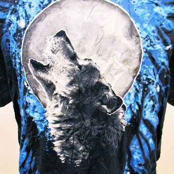 Vintage 90s Fashion WOLF KILLING MOON Hipster Animal Print Indie T-Shirt XL