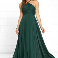Everlasting Enchantment Dark Green Maxi Dress