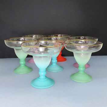 Vintage Blendo martini margarita glasses - Retro colorful frosted stems with gold rim - West Virginia Glass Company Blendo glasses Set of 7
