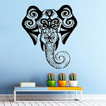 Elephant Wall Decal Indian Pattern Om Sign Decal Vinyl Sticker Wall Decor Home Interior Design Art vk103