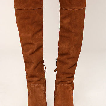 Steve Madden Palisade Chestnut Leather Over the Knee Boots