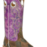 Anderson Bean® Ladies Distressed Brown & Black Patchwork Square Toe Western Boots