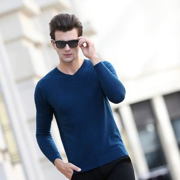 Sweater Man 100% Pure wool Knitted Winter Warm Pullovers V-neck Long Sleeve Standard Sweaters Male Jumper 9Color Puls Size