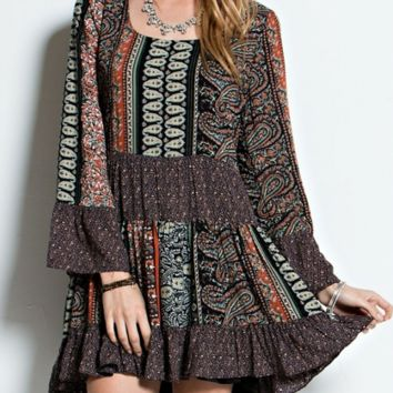 Treat Me to Ice Cream Mini Dress-Paisley-Easel-Boho-Navy/Orange