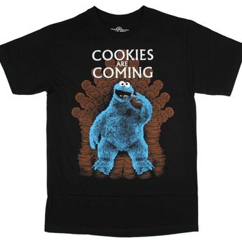 Sesame Street Cookie Monster T Shirt Cookies Are Coming Men's Black Tee