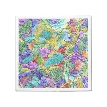 Colorful Nature Succulent Plants Paper Napkin