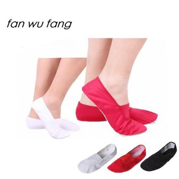 fan wu fang 2017 Hot 3 Color Soft Sole Canvas Yoga Gym Shoes Ballet Dance Shoes Slippers Women Children According The CM To Buy
