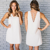 Over Time Shift Dress In Cream