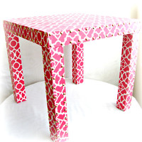 Hot Pink Parsons Table Upholstered with Trellis by TheBonBonShoppe