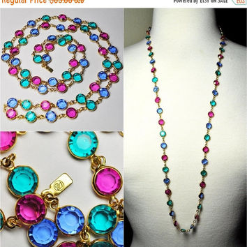 "ON SALE Vintage SWAROVSKI Gold and Multi Color Crystal Bezel Necklace, Teal, Blue & Fuchsia, 36"" Long, 8mm Bezels, Sublimely Sparkly! #B180"