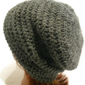Crochet Slouch Beanie Kendall in Grey Wool