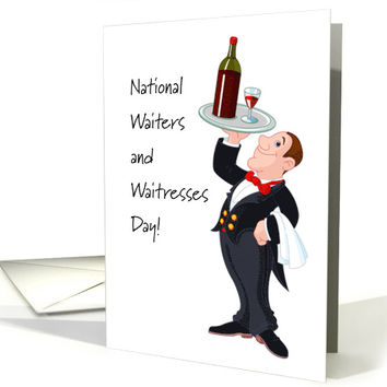 National Waiters and Waitresses Day with Cartoon Waiter card