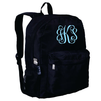 Monogram Backpack and Lunch Bag Set - Wildkin - Personalized - Rip Stop Black - Back to School Crackerjack